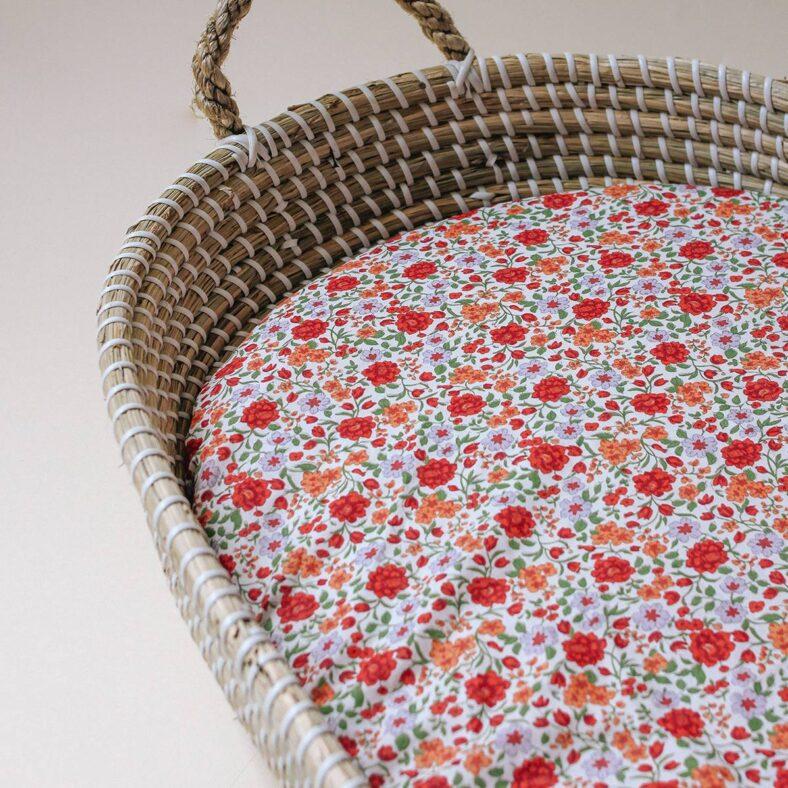cesto cambiador con bajera flores melibea