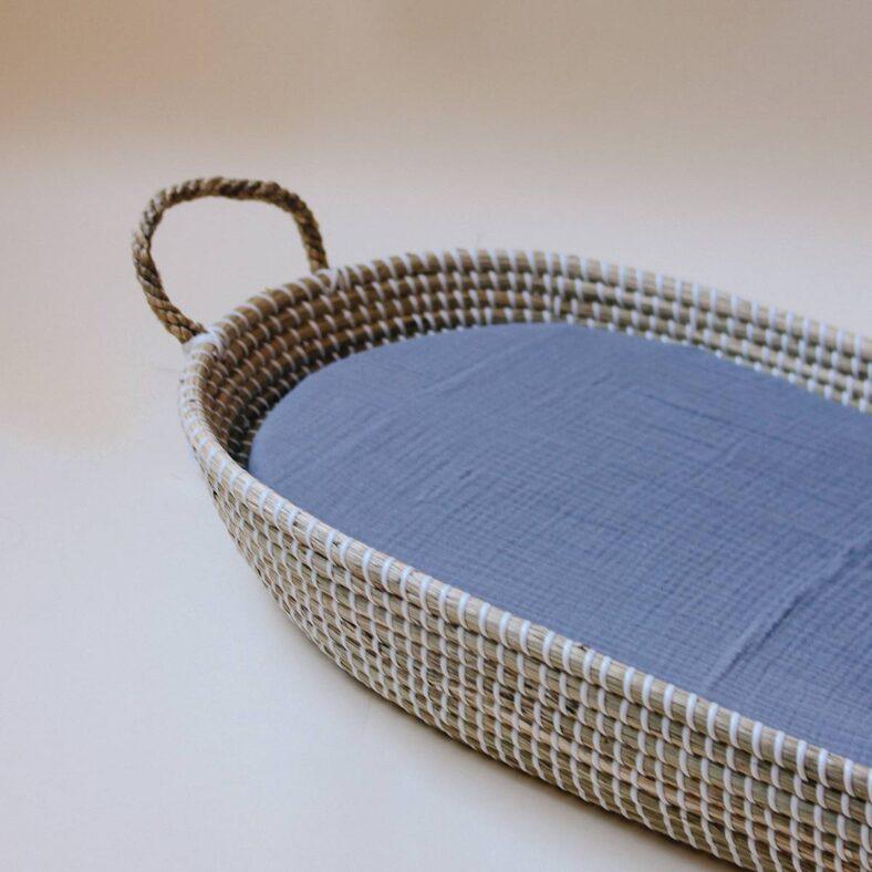 bajera muselina gris azulado cesto