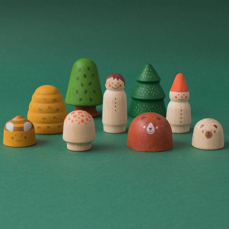 juguete de madera bosque y animales todas las piezas