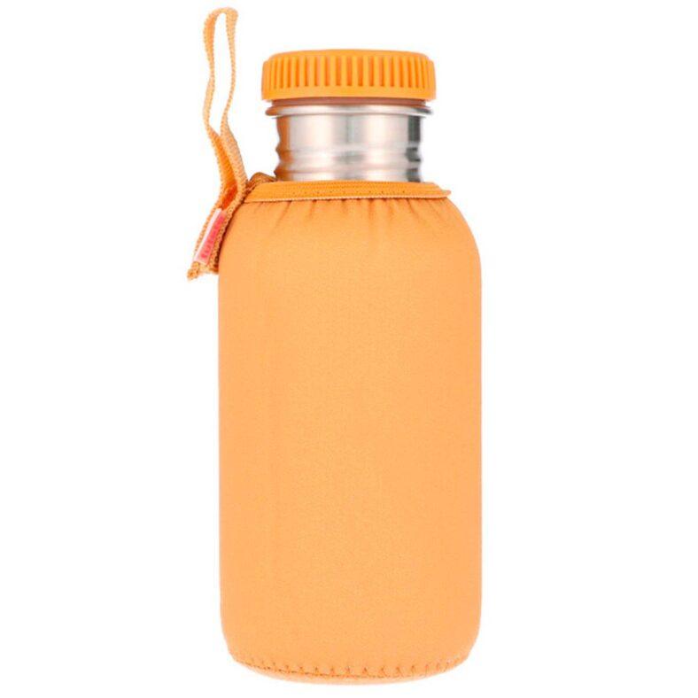 botella acero mostaza funda