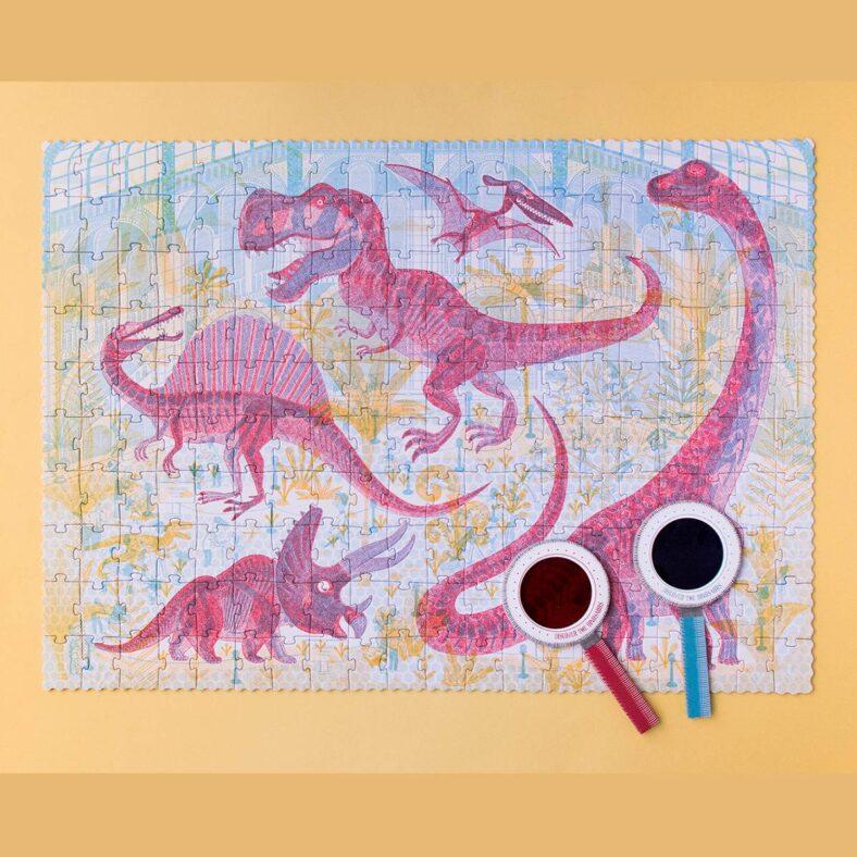 puzle descubre los dinosaurios con lupas