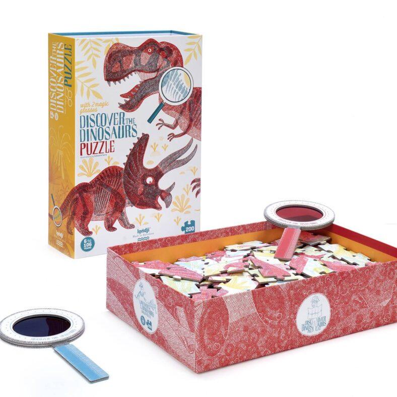 caja abierta puzle descubre los dinosaurios