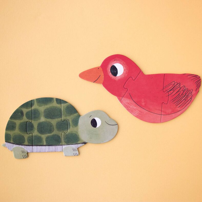 puzle i love my pets tortuga y pajaro