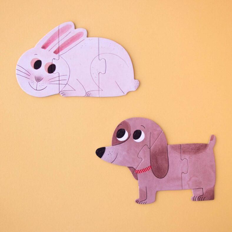 puzle i love my pets conejo y perro