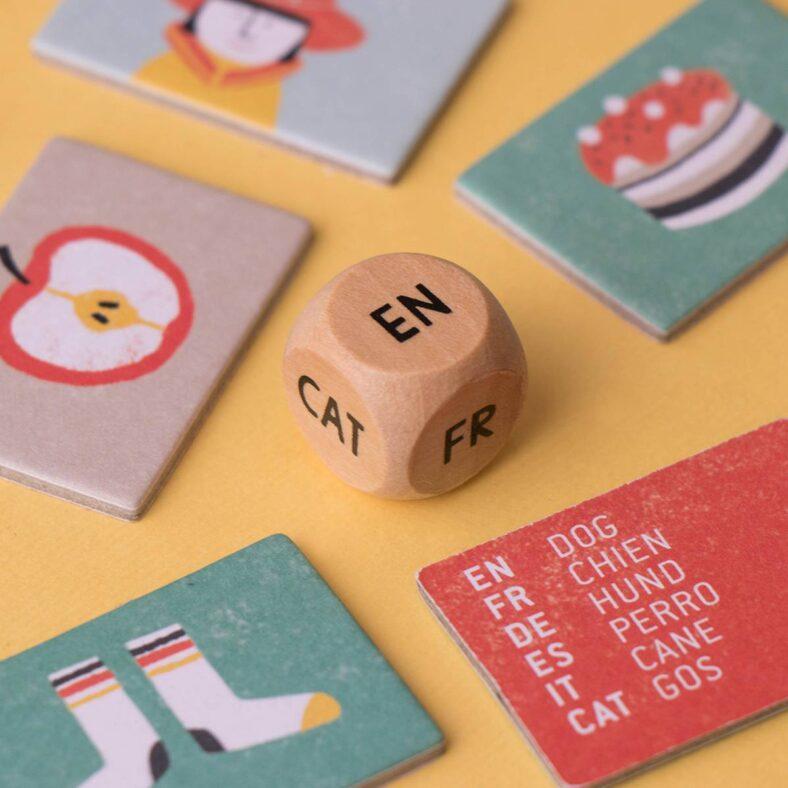 juego idiomas i speak 6 languages dado de madera