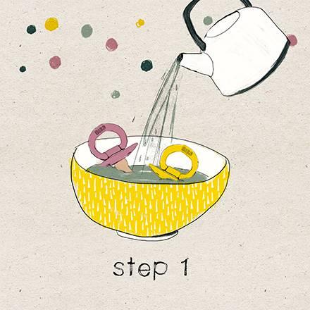 1 lavar BIBS: echarles agua hirviendo