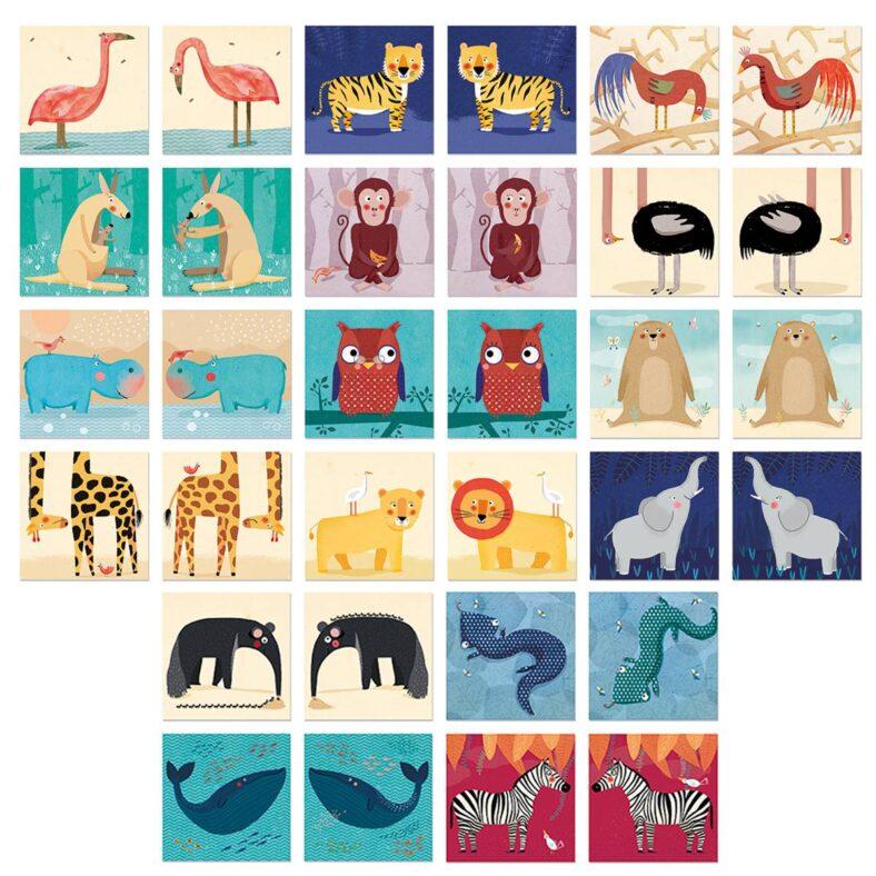 juego memory de animales todas las fichas