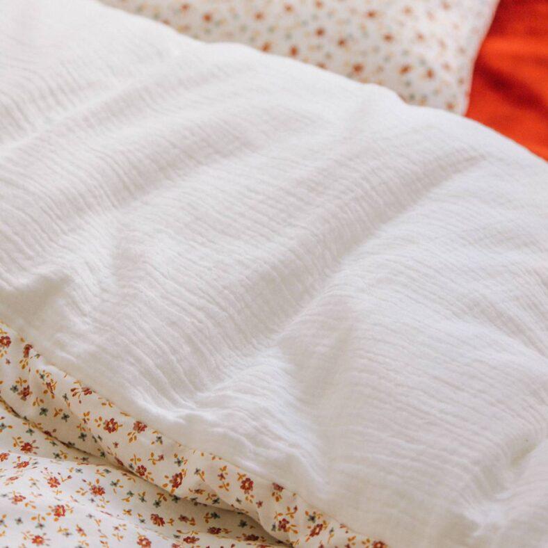 funda nordica flores muselina blanca textura tejidos