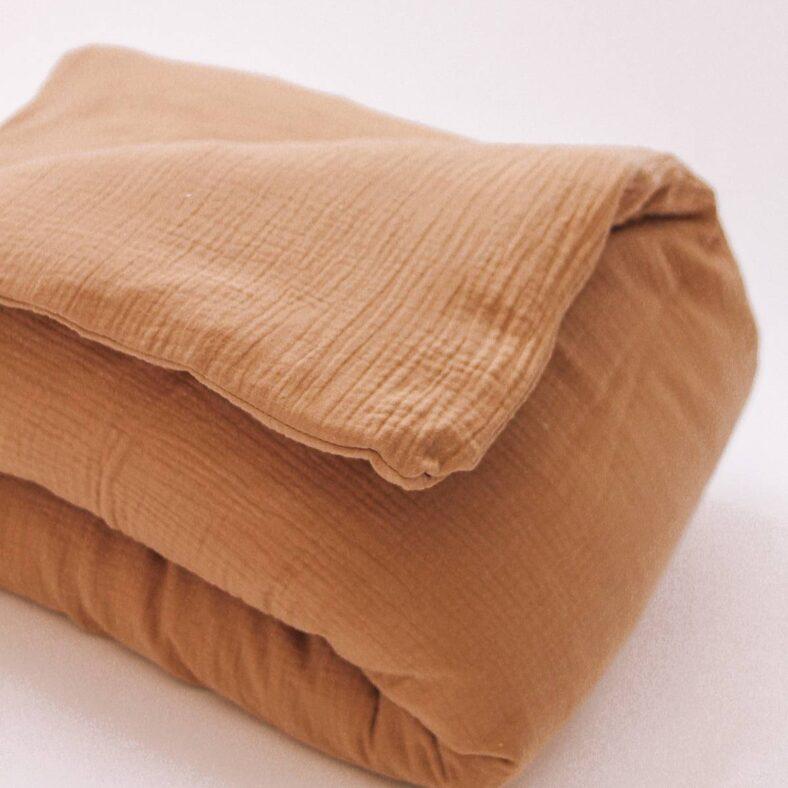 detalle funda nordico edredon muselina cafetito marron moca