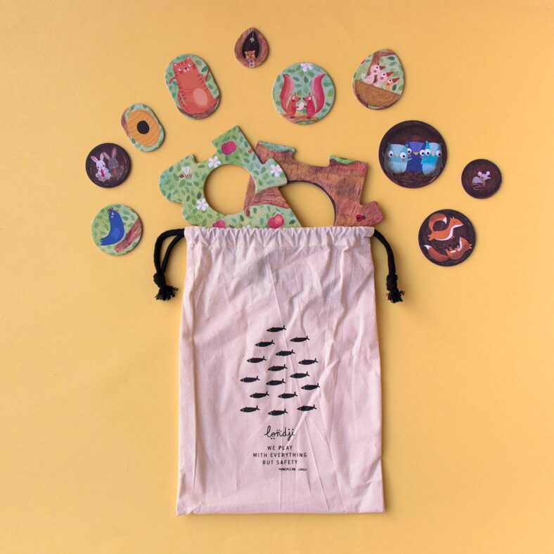 bolsa algodon con piezas puzle arbol mon petit pommier