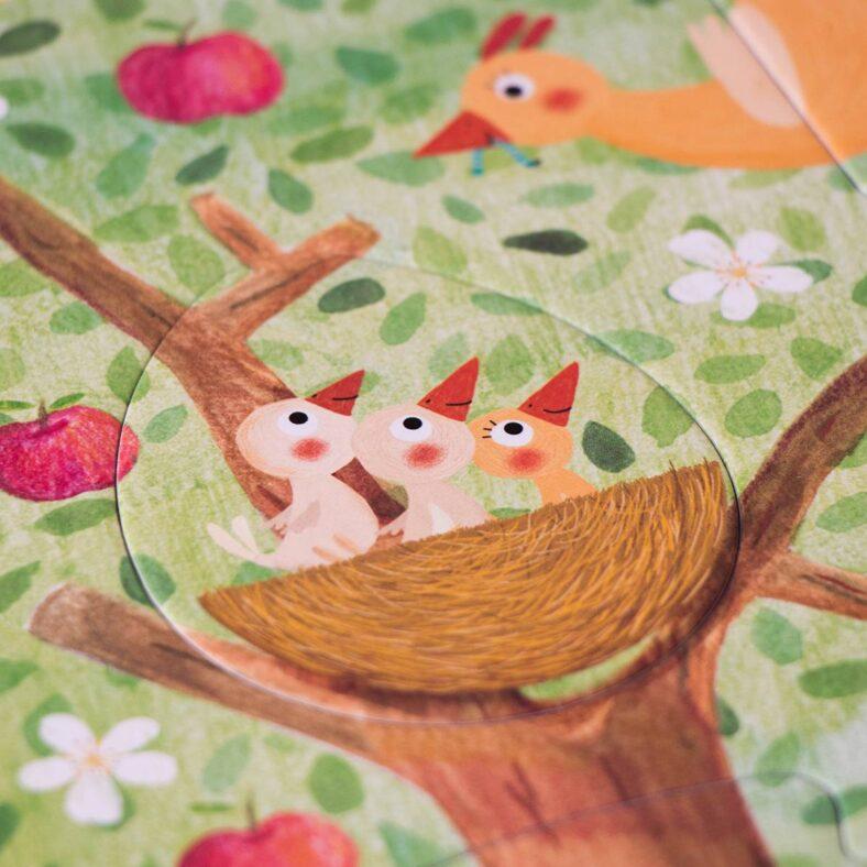 puzle arbol mon petit pommier detalle primavera pajaro
