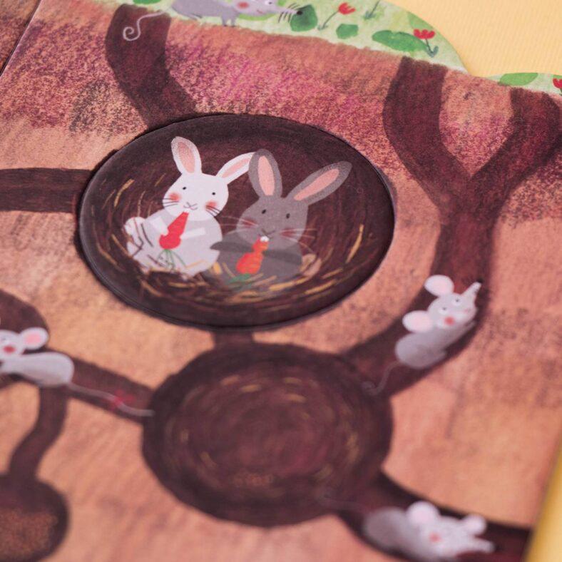 puzle arbol mon petit pommier detalle animal conejo