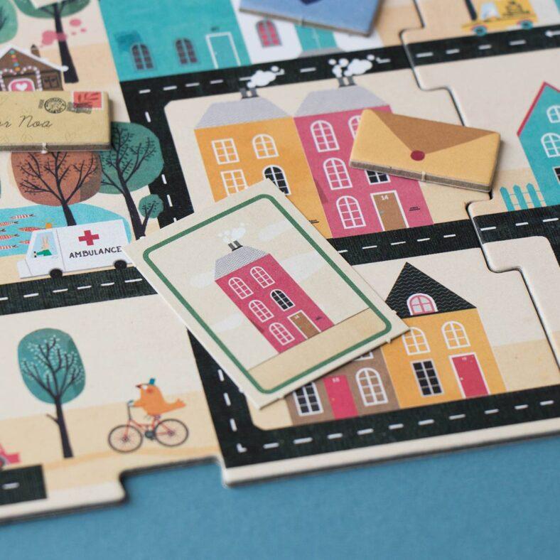detalle puzle juego de mesa postman version viaje pocket