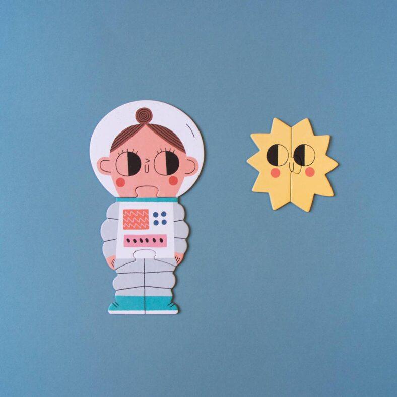 puzle valentina en el espacio astronauta y sol