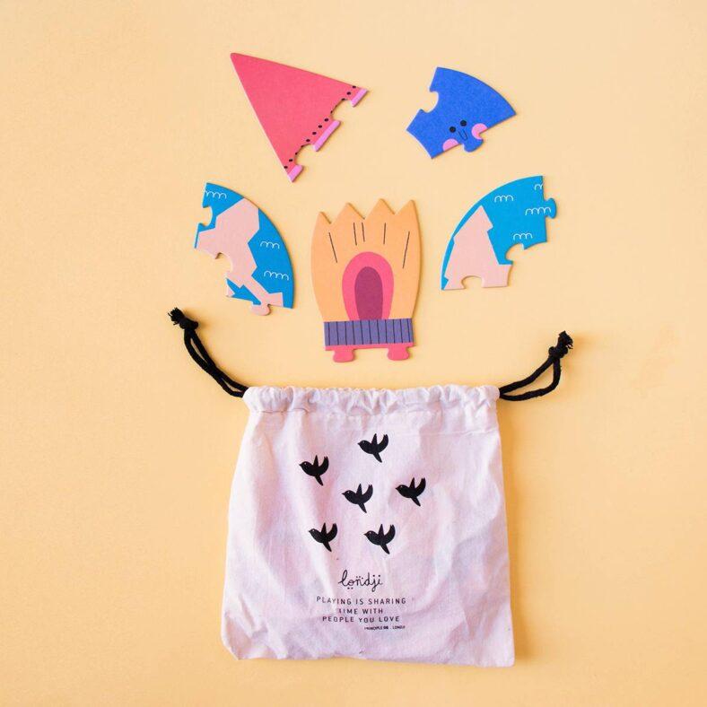 puzle valentina en el espacio bolsa algodon y piezas